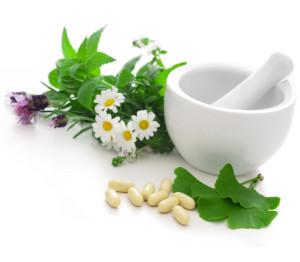 Healing herbs in mortar. Alternative medicine concept